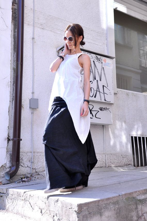 e25e233bcdc NEW Black Linen Maxi Skirt / Extravagant Long Skirt by Aakasha ...