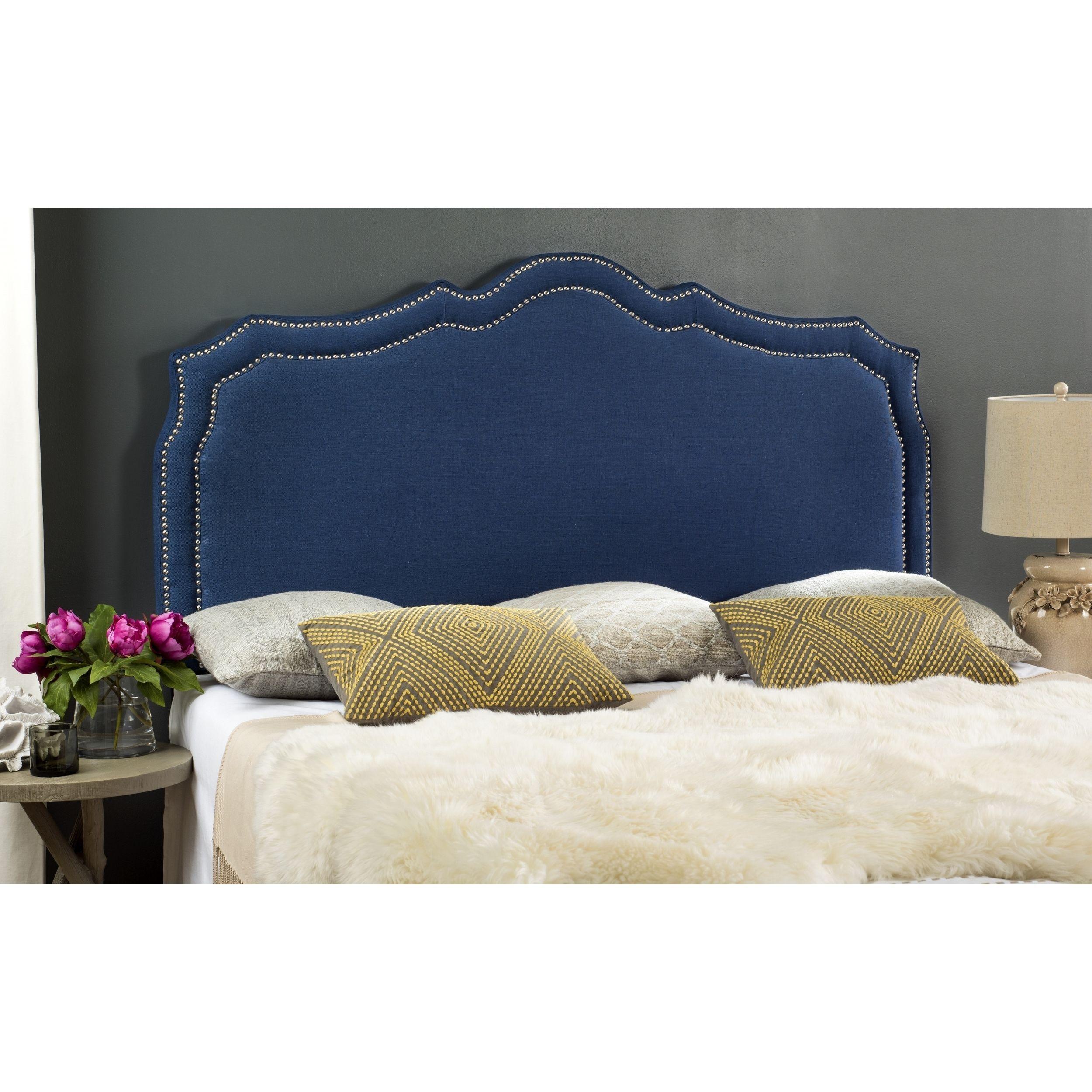 Safavieh Skyler Steel Linen Upholstered Headboard - Silver Nailhead