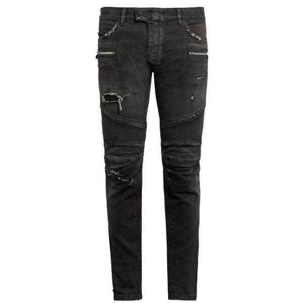 Balmain Distressed biker jeans ($1,700) ❤ liked on Polyvore featuring men's  fashion, men's