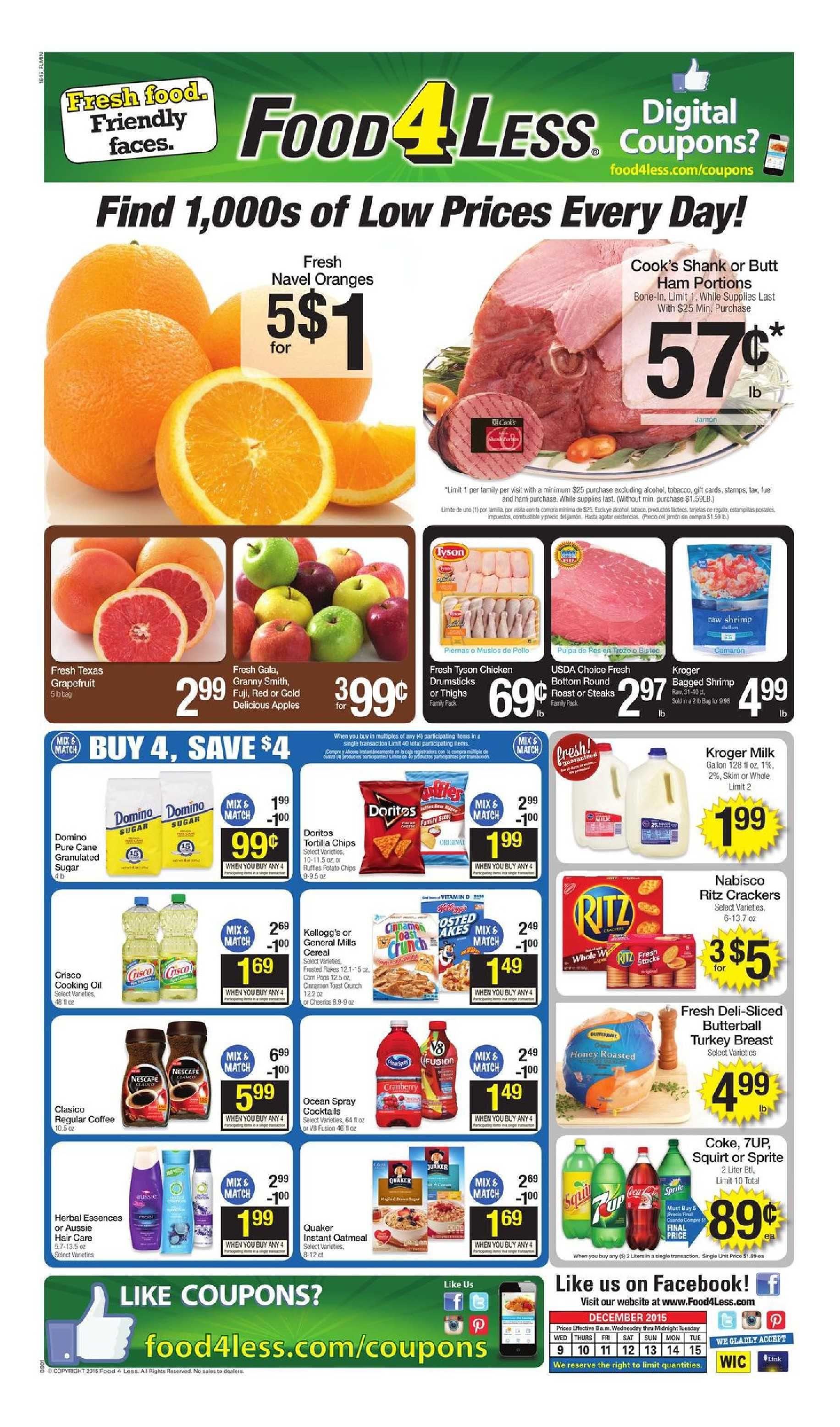 Food 4 less weekly ad december 2 8 2015 weekly ads