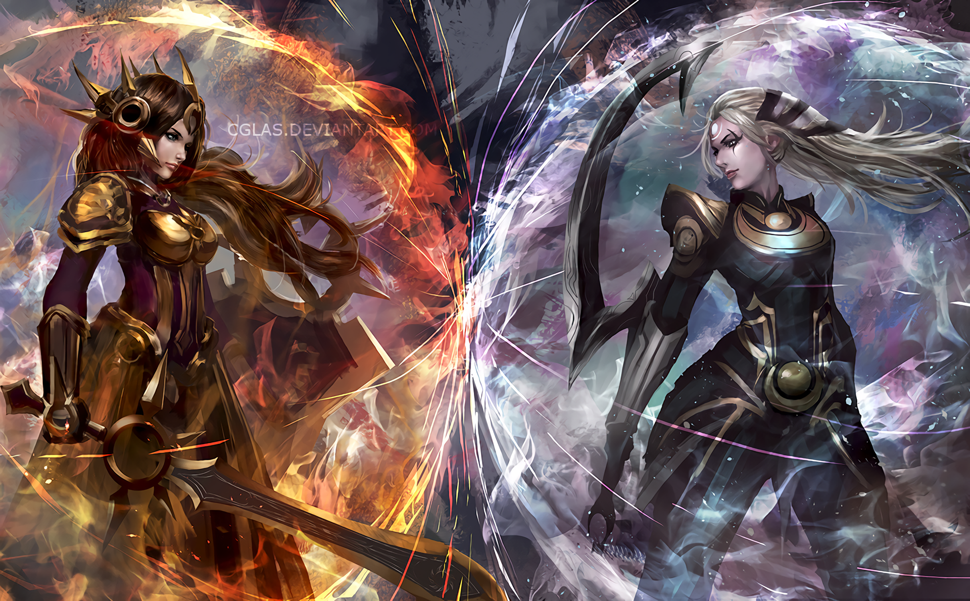 Video Game League Of Legends Leona Diana Wallpaper ภาพวาด สาวอ