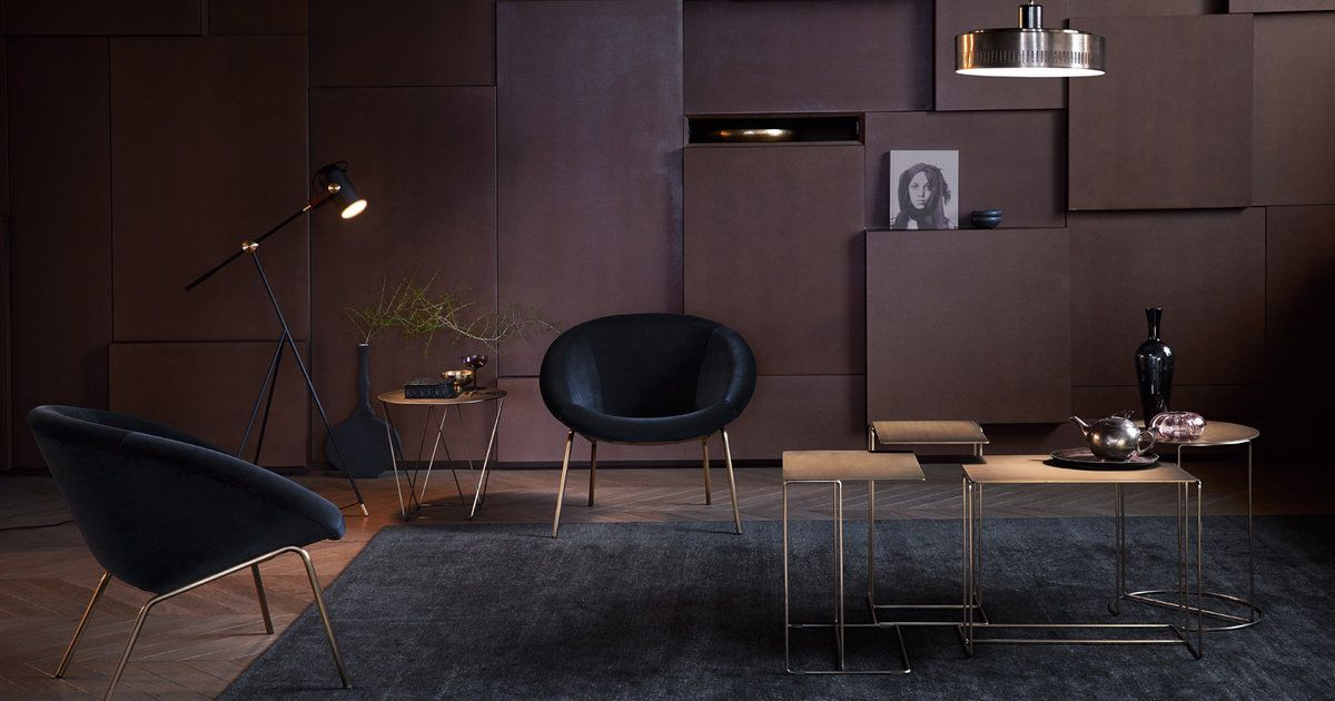 Oki tables from Walter Knoll. Top in brass. Designed by EOOS