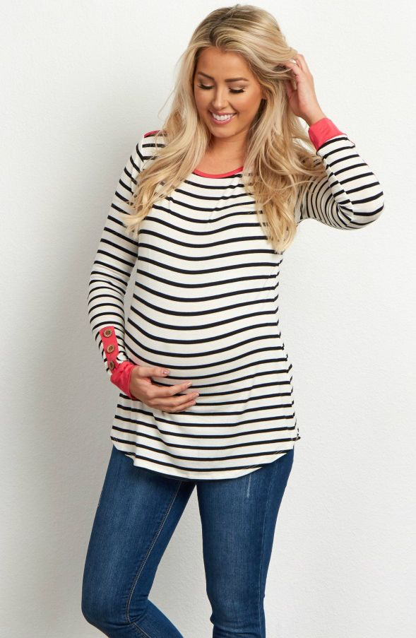 b0ce02597d3 This maternity top features all of our favorite details. A classic striped  print and a cute button sleeve accent make this long sleeve the perfect  piece to ...