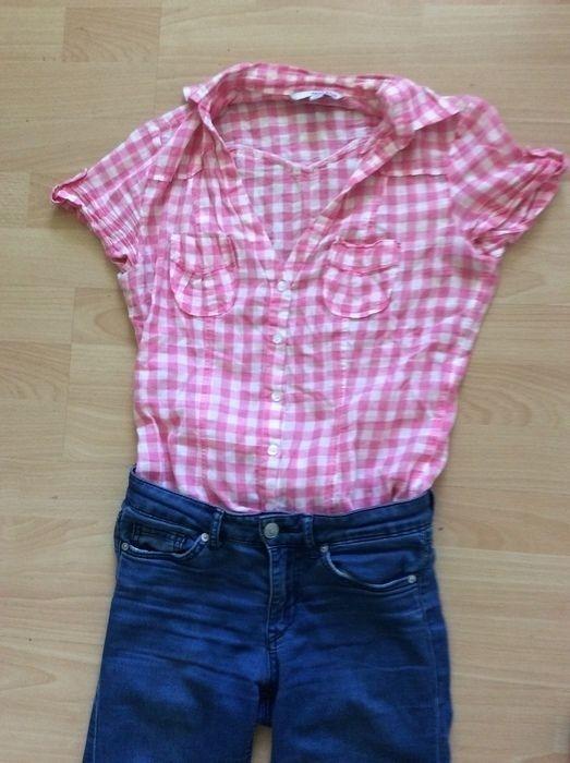 f0efb5360880  bluse Hemd kariert karos weiß rosa  tally weijl xs s 36 rockabilly Vintage  Blogger