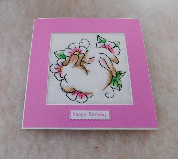 birthday card handmade machine embroidered beautiful