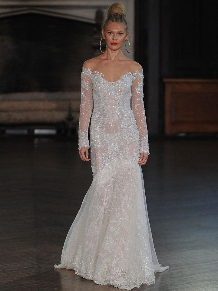 Berta long-sleeve off-the-shoulder | itakeyou.co.uk #wedding #weddingfashion #bridal #weddingdress #weddinggown #bridalgown #weddingdresses #weddinggowns #berta #bridalinspiration #weddinginspiration #engaged