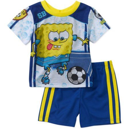 a9dd823b2 Nickelodeon Baby Boys  Spongebob 2 Piece Short Sleeve Pajama Set ...