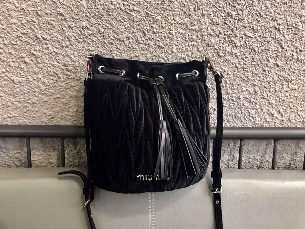 Miu Miu Matelassé Velvet Bucket Bag 5BE014 Black 2018   Miu Miu ... efbb2c3c16