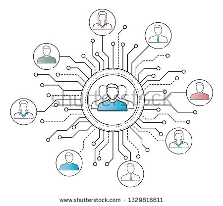 Stock Vector: Thin line social network icons interface on