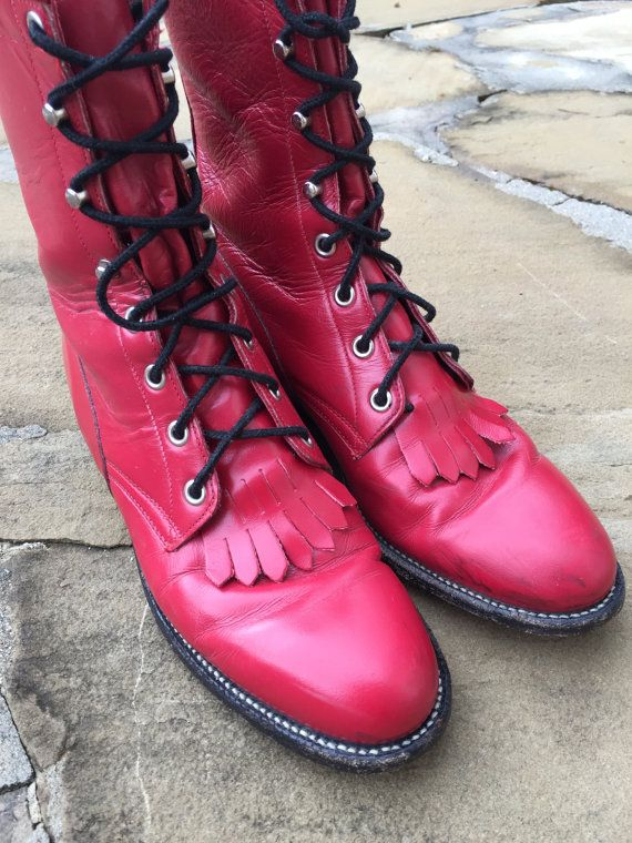 Red Leather Riding Boots by Justin Size 7 B - Vintage Roper Boots Black Laces Cherry Red Leather Fringe Ladies Women's 1