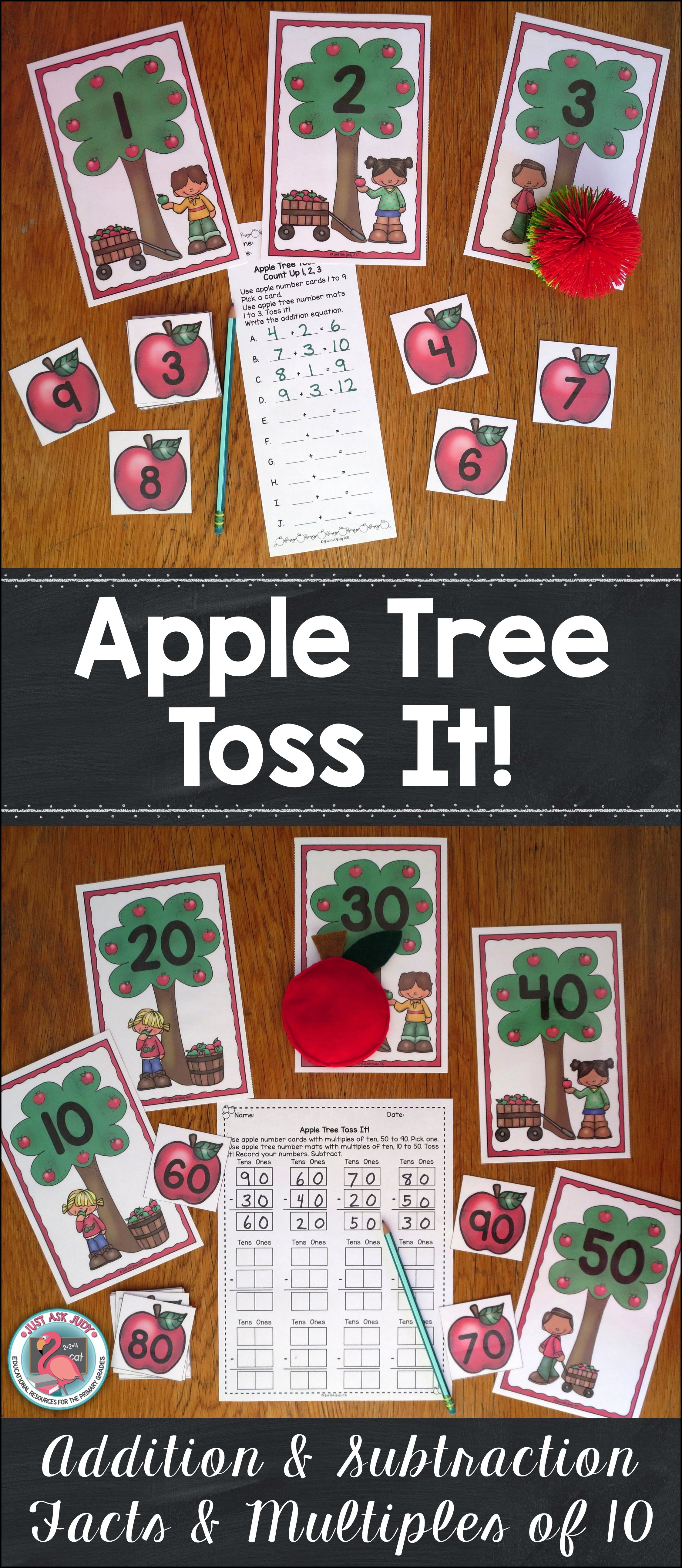 Addition And Subtraction Facts And Multiples Of Ten Activity Apple Tree Toss It
