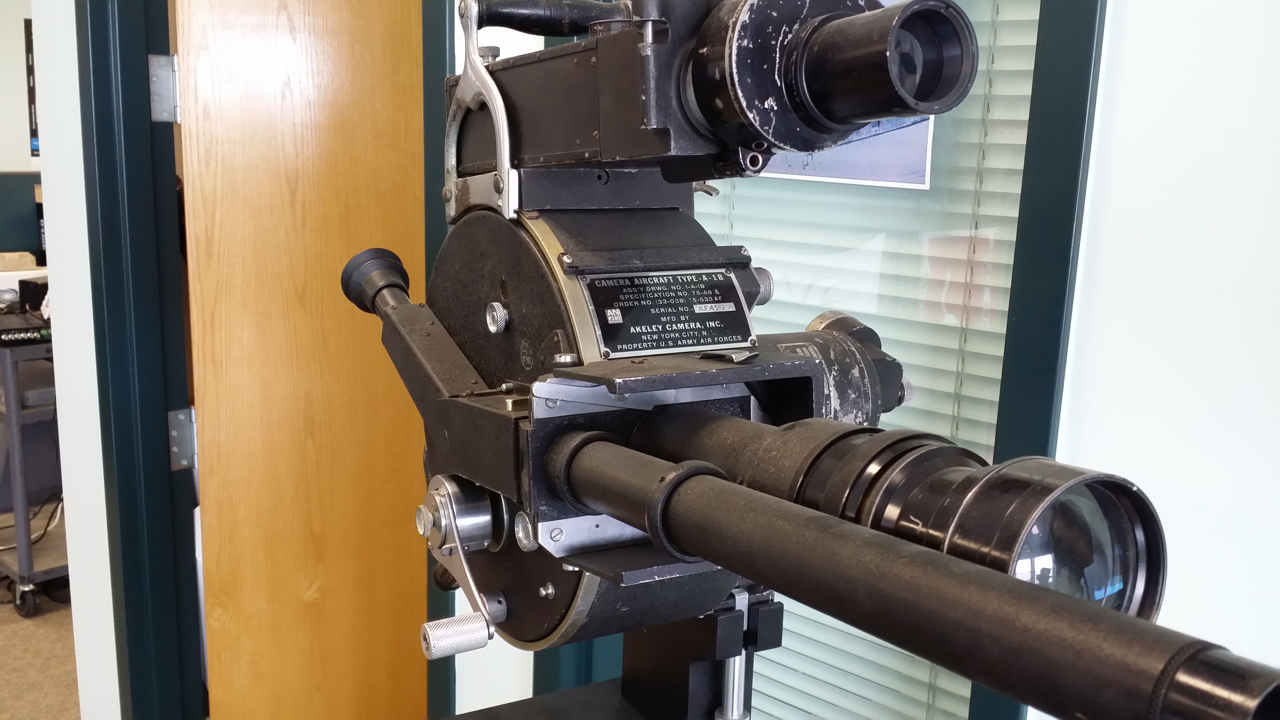 Front view of an Akeley 35mm motion picture camera used by