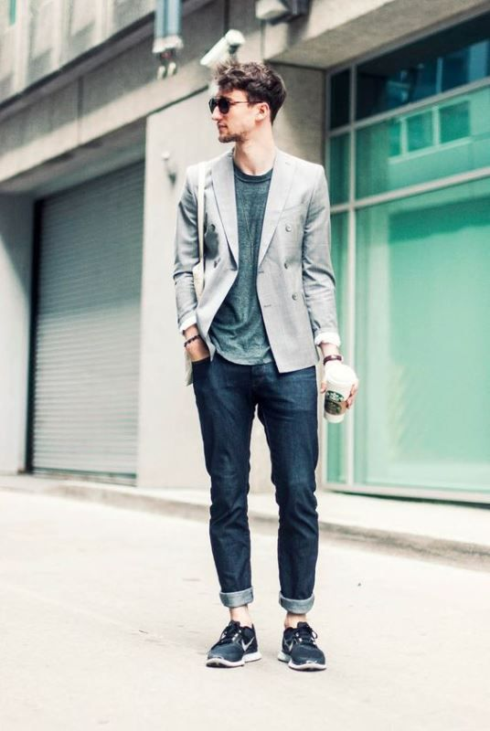 Skinny Jeans With Sneakers, A Tee And A Stylish Blazer | Mens ...