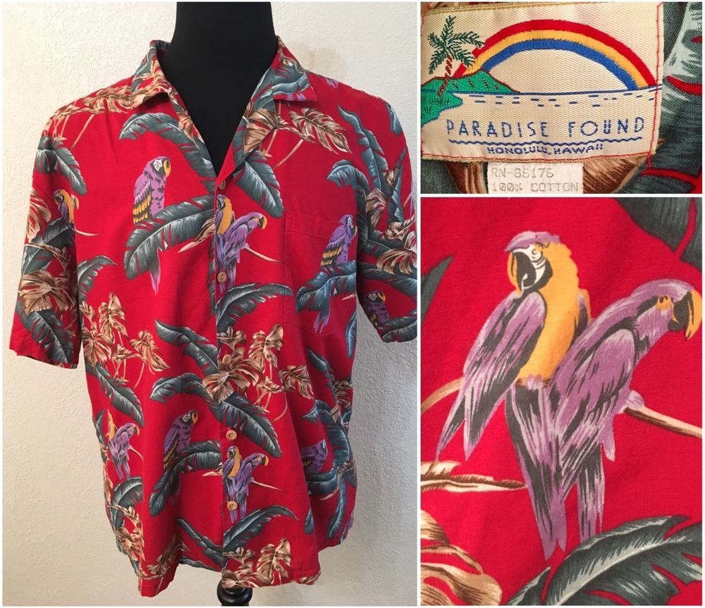5edb7313 Paradise Found Magnum PI Jungle Bird Parrot Hawaiian Red Camp Shirt M  Medium #ParadiseFound #Hawaiian