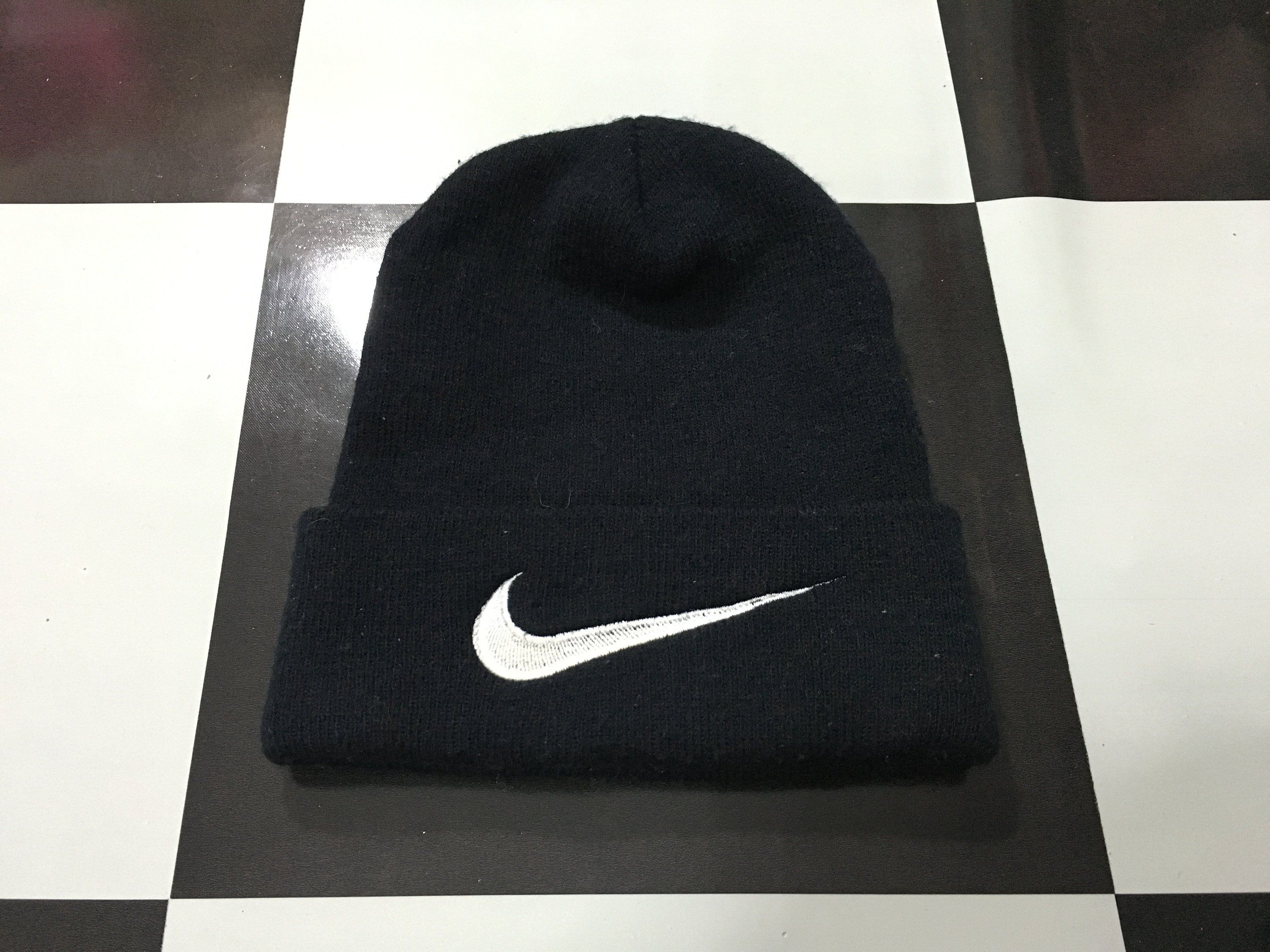 14837e69 Vintage Nike beanie hat big swoosh logo nike swoosh logo embroidered Free  size Excellent condition by AlivevintageShop on Etsy