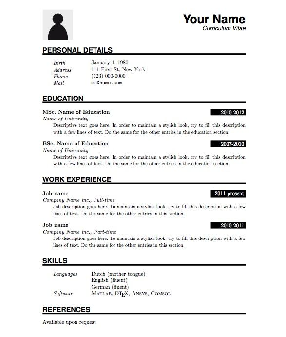 image result for simple cv format in word