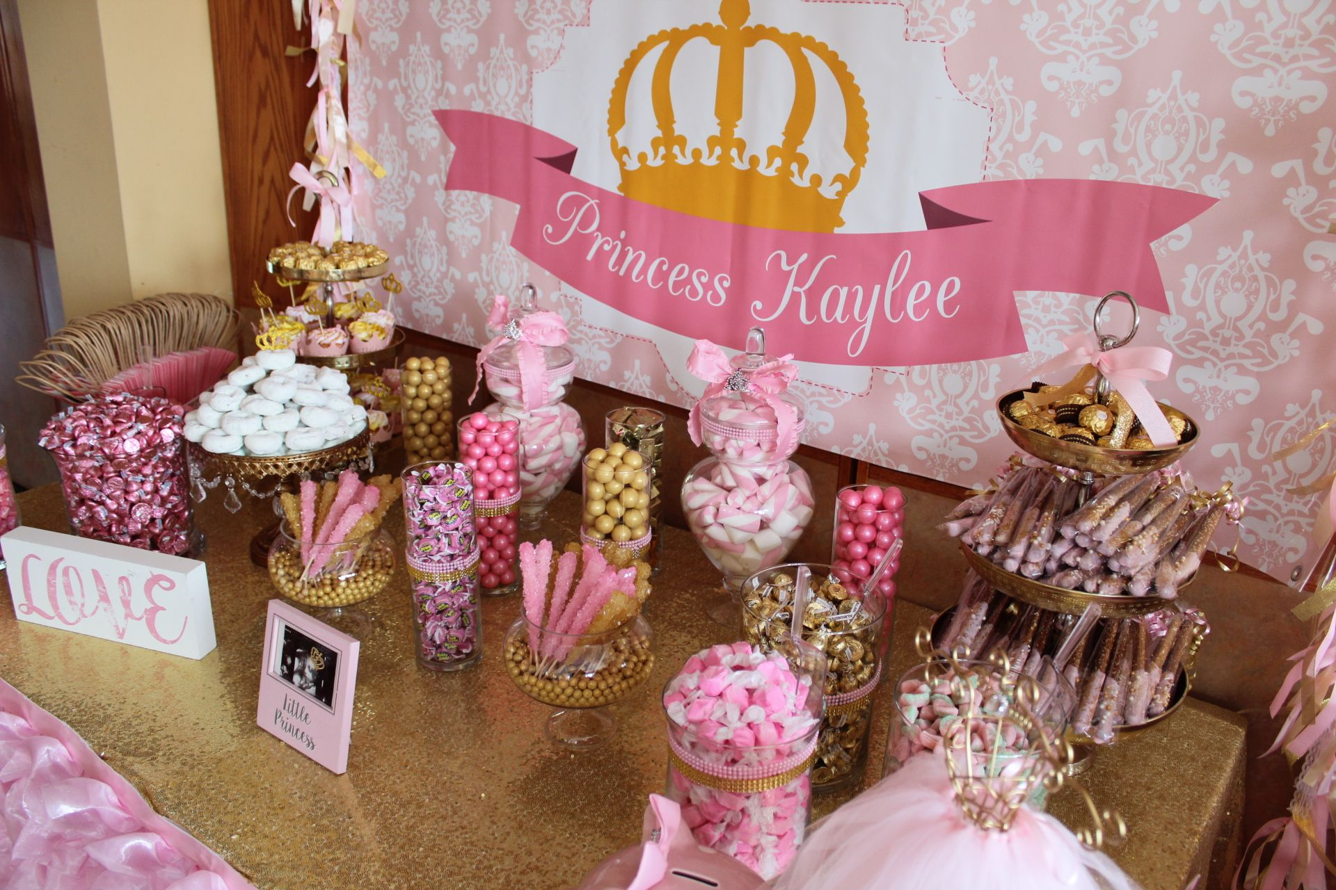 Princess Theme Candy Table Pink Baby Shower Princess Baby Shower Princess Theme Princess Theme