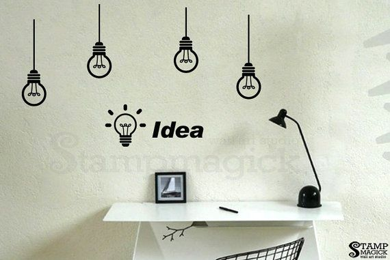 Idea Office Wall Decal Light Bulbs Vinyl Wall Decor Graphics Work Creative Wall Sticker K251 Office Wall Decals Wall Vinyl Decor Wall Decals