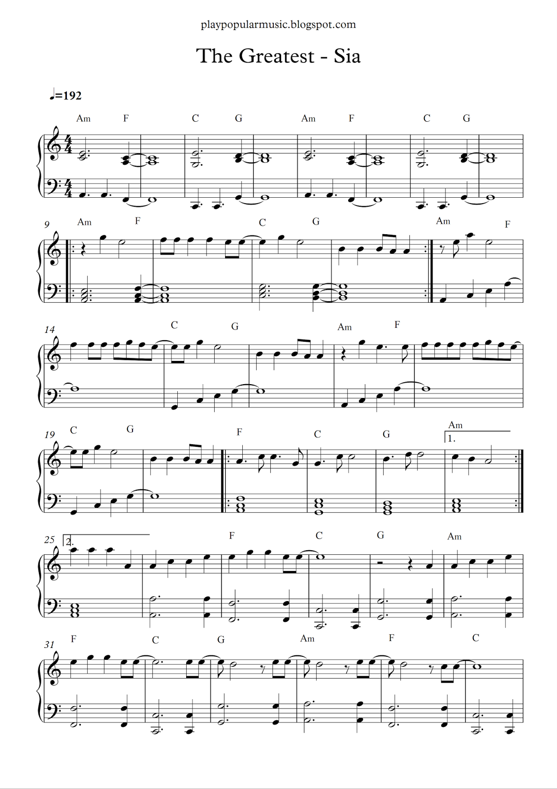 Free piano sheet music: The Greatest-Sia pdf But the strong