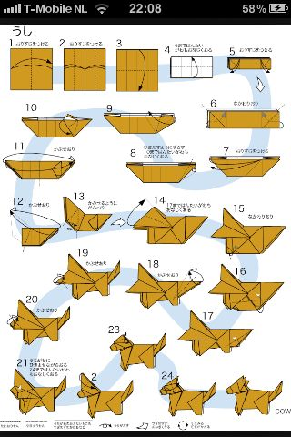 Origami Diagrams And Rh Com Easy Cow For Beginers