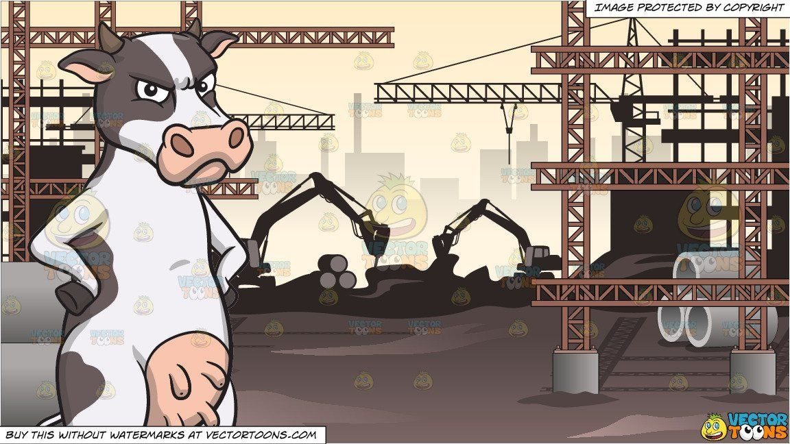 Clipart cartoon An Angry Cow and A View Of A Major Construction