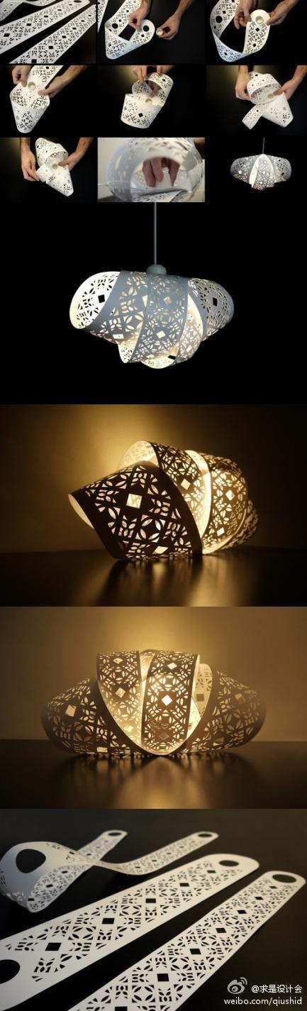 diy paper cut lampshades paper cutting pinterest lampen diy lampe und lampions. Black Bedroom Furniture Sets. Home Design Ideas