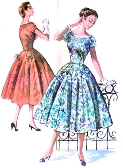 1950s Beautiful Dress Pattern McCalls 3718 Lovely Peek a Boo Neckline Full Skirt Bow Decorations Day or Party Cocktail Bust 30 Vintage Sewing Pattern FACTORY FOLDED