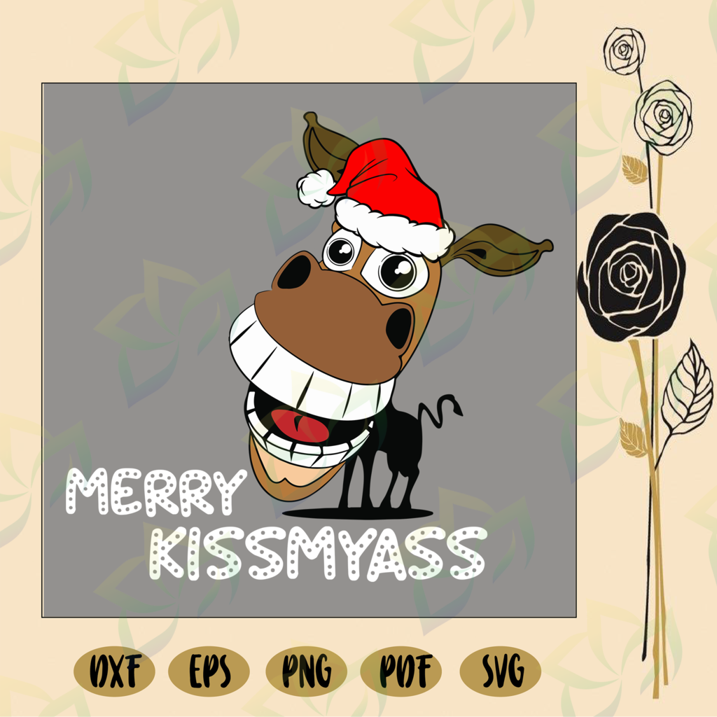 Merry kissmyass svg, donkey christmas, donkey santa hat