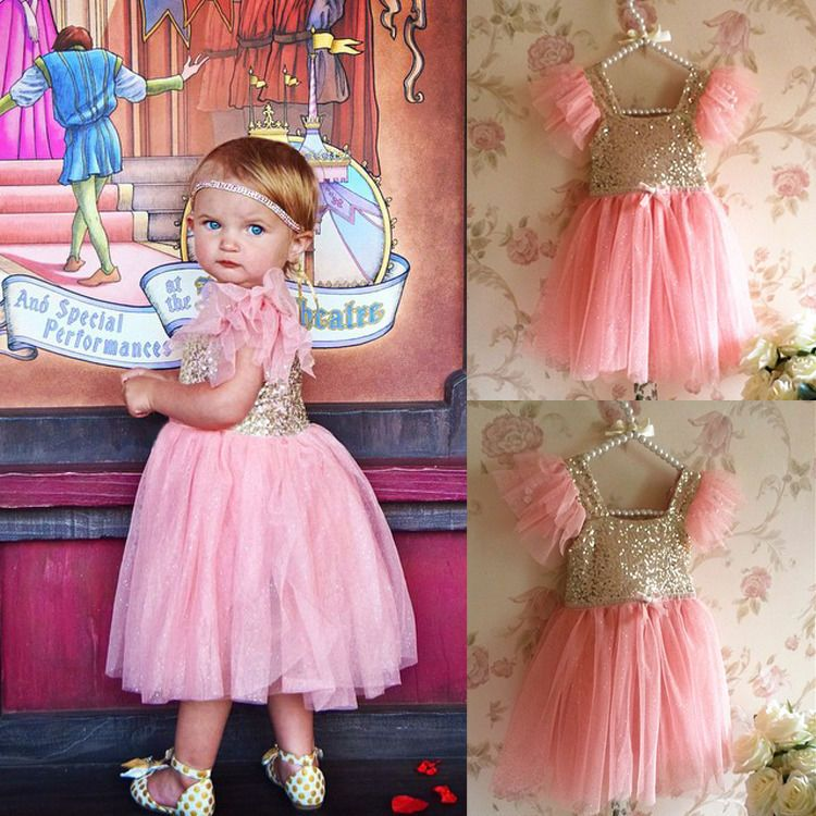 Bling Pinks Princess Baby Kids Girls Dress Party Gown Formal Fancy