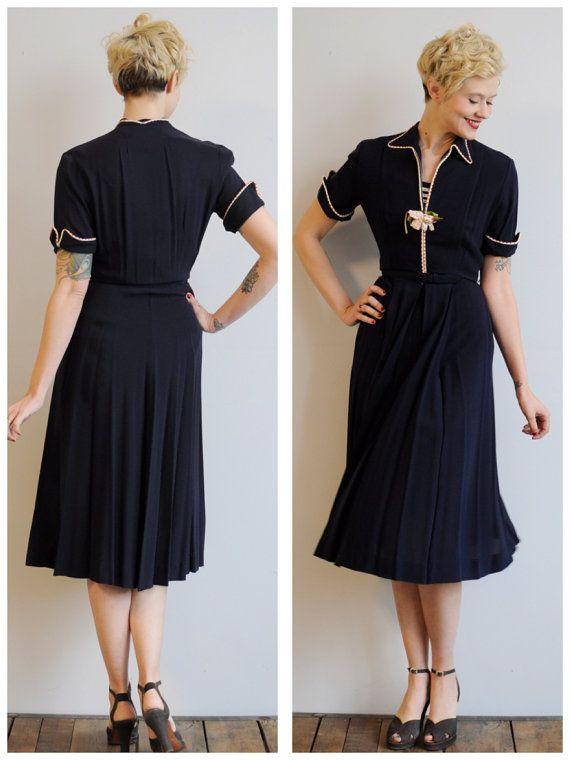 1940s Dress // Rose Foncé Dress // vintage 40s rayon dress on Etsy, $89.00