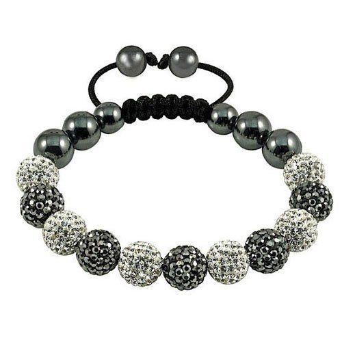 Eleven Grey White Swarovski Crystal Balls With Magnetite Beads Black Cord Shamballa Bracelet Tp6306 J Shamballa Bracelets Shambala Bracelet Fashion Bracelets