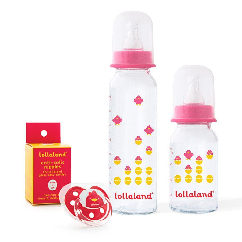 Lollaland glass baby bottle gift set three colors glass