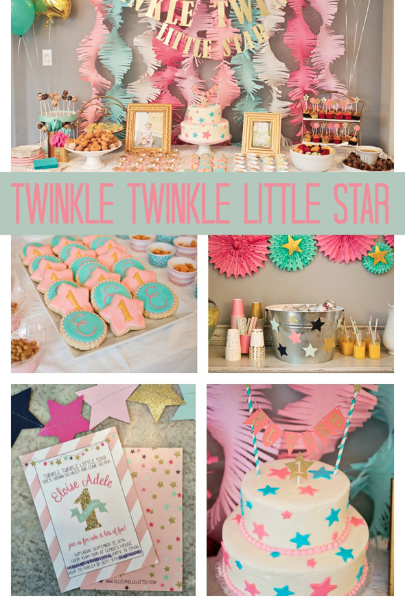 This Twinkle Twinkle Little Star First Birthday Theme Is The Best Use Of A Nursery Rhyme Birthday Party Themes Birthday First Birthdays