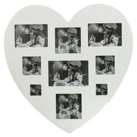 """Add the finishing touch to your romantically rustic bedroom scheme with this striking photo frame. Featuring nine apertures in a heart silhouette, it looks beautiful alongside floral fabrics, bare wood floors and painted white furniture.  Product: Photo frameColour: SilverFeatures:  Holds (1) 5"""" x 7"""" photoHolds (2) 4"""" x 6"""" photosHolds (2) 4"""" x 4"""" photosHolds (2) 3"""" x 3"""" photosHolds (2) 2"""" x 2"""" photosWall mounted Dimensions: 45 cm H x 45 cm W x 1 cm DCleaning and Care: Wipe with damp cloth"""