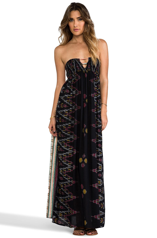 9bc9193fc16 Love. Indah Flamingo Smocked Bandeau Maxi Dress in Black Endek ...