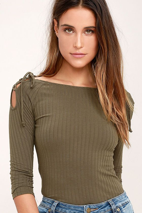 addedbf665c293 The Build Me Up Olive Green Long Sleeve Top is finally here to up your  street style! Stretchy, ribbed knit forms a bateau neckline, fitted long  sleeves, ...
