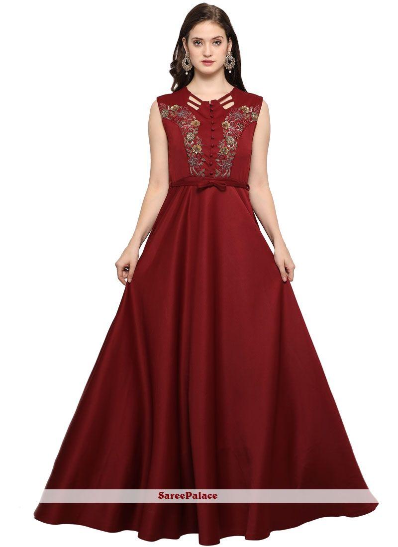 Grandiose Fancy Fabric Maroon Readymade Gown | y | Pinterest | Fancy ...
