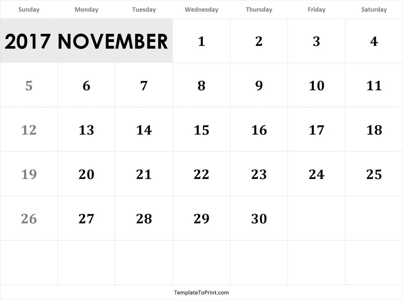 November  Calendar Template Pdf  Printable Calendars