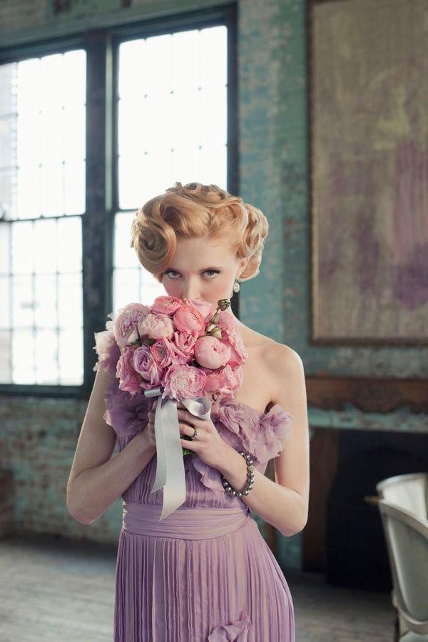 lavender/purple dress, pink bouquet