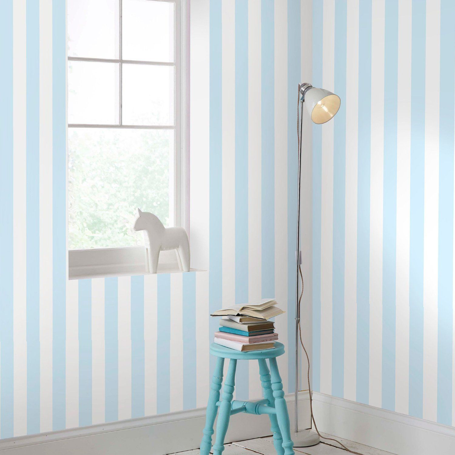 Kitchen wallpaper stripes - Graham Brown Pastel Blue White Stripe Wallpaper Kids Playroom Bedroom Amazon Co