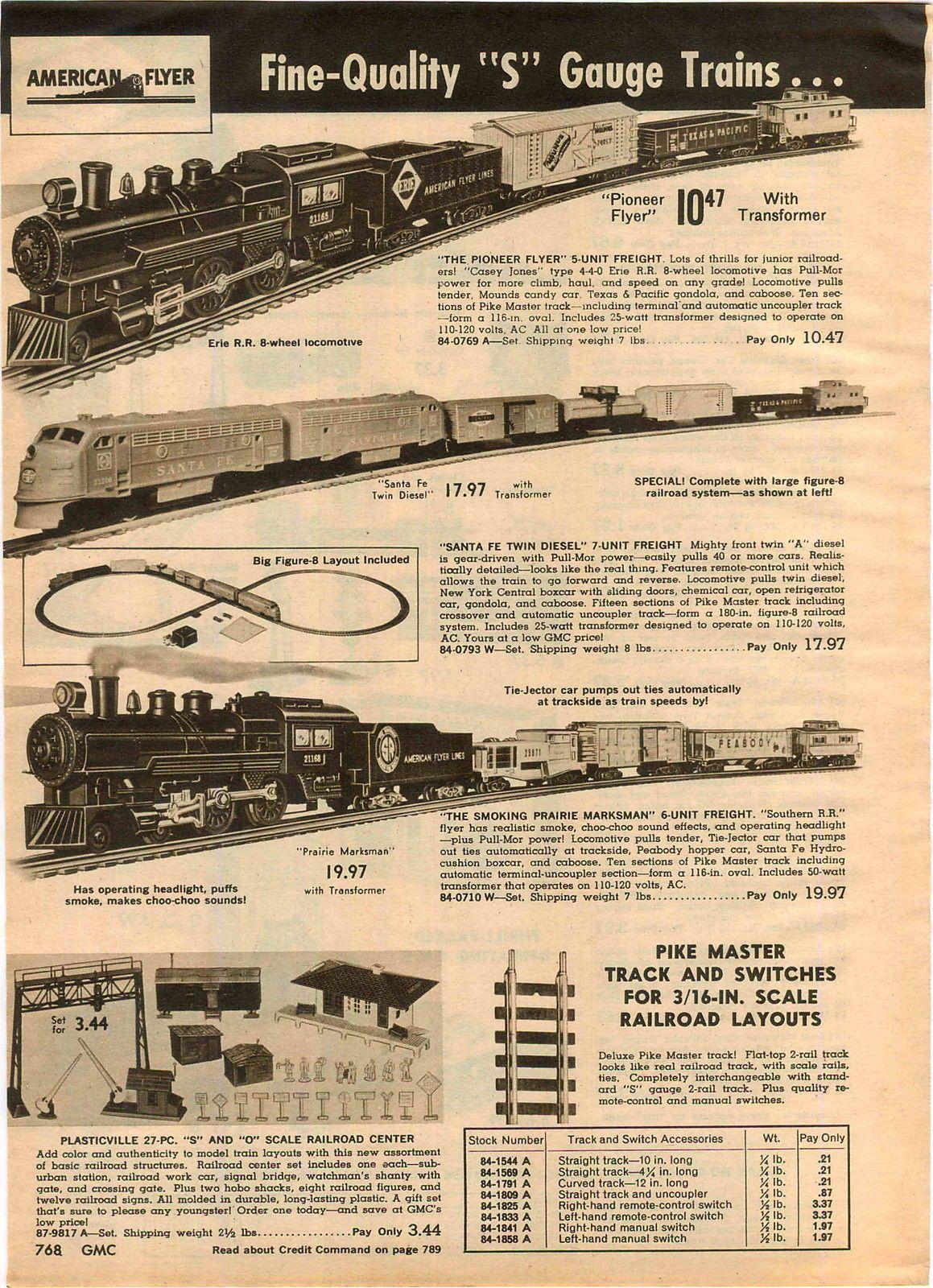 1962 Advertisement 2 Page American Flyer Electric Train Set Santa Fe Twin Diesel Model Trains Train Electric Train Sets