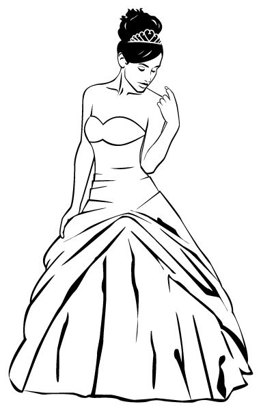 Quinceanera Dresses Coloring Pages. Vector Image for Quincea era or Wedding Dress  Graphics I ve
