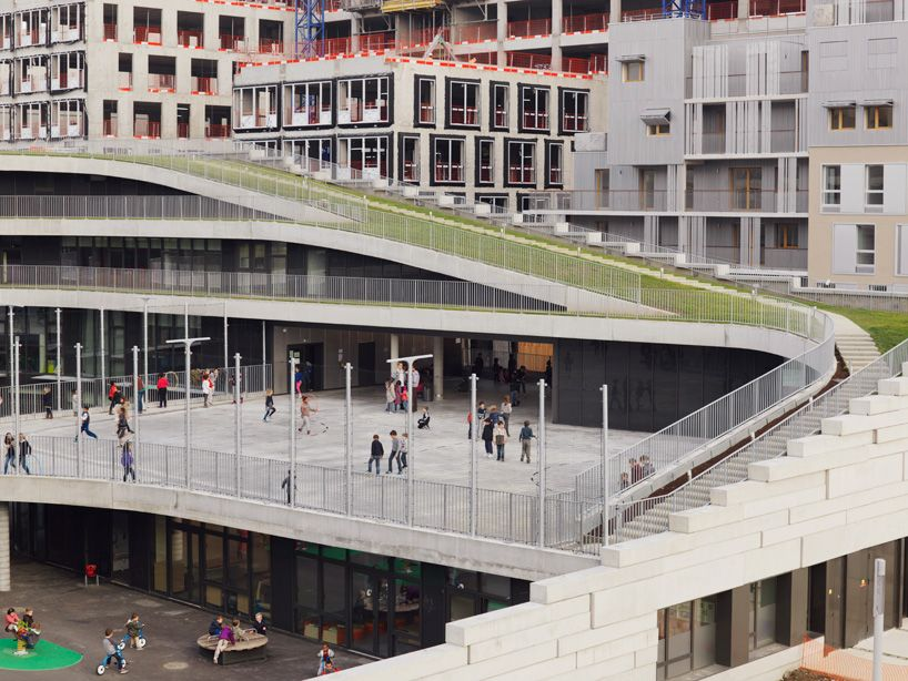 elevated landscape Primary School in Paris France by chartier