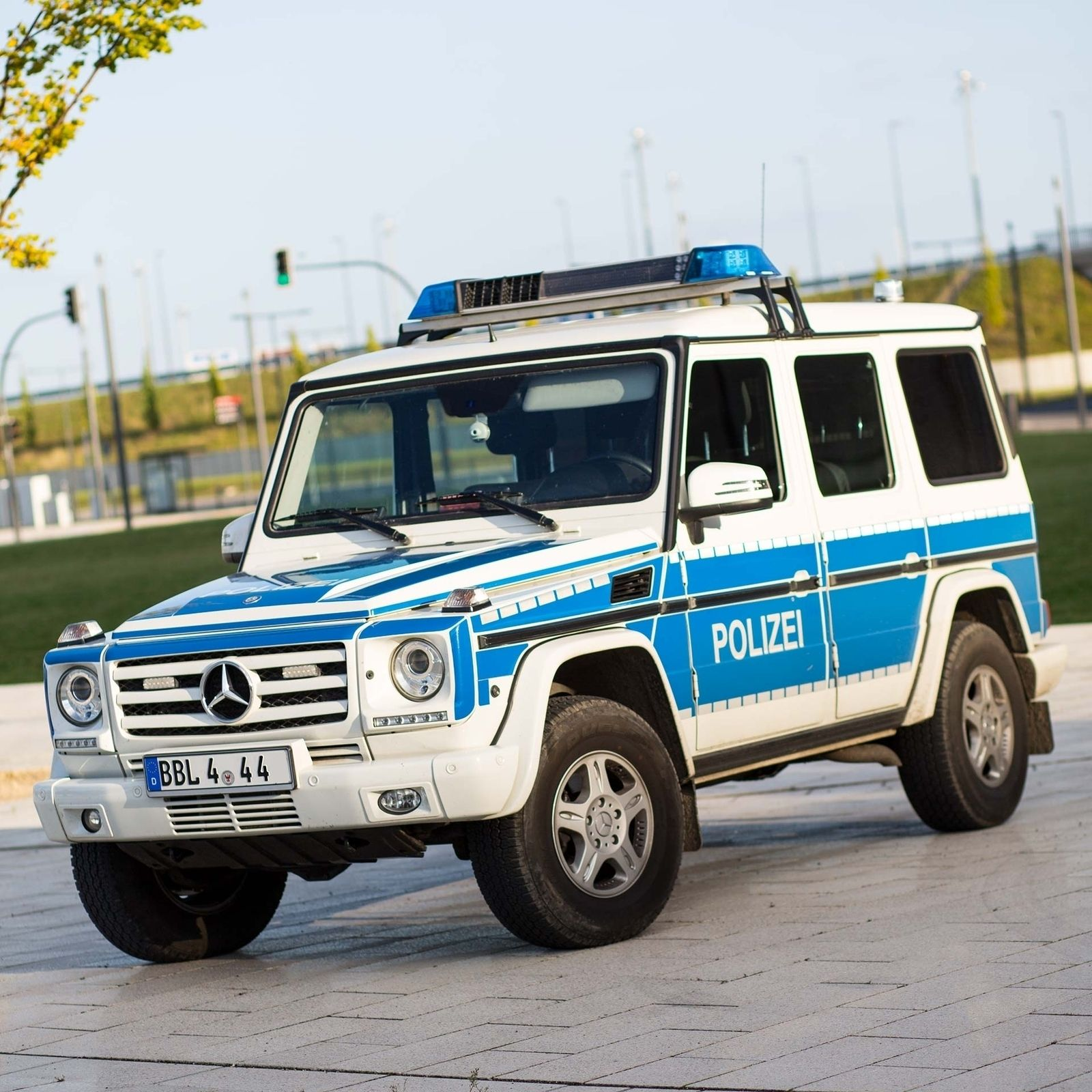 The german police officers who are driving this nice for Mercedes benz cleveland area