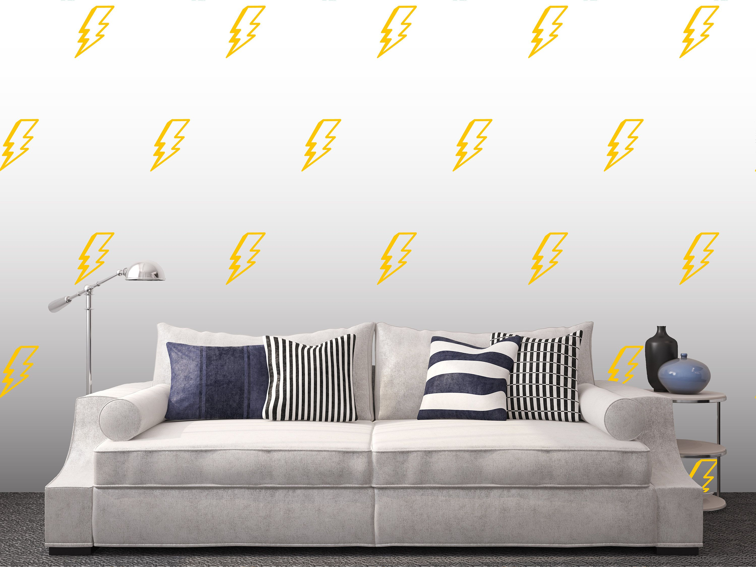 Lightning Bolt Wall Decal Electricity Pattern Ornament Sticker Etsy In 2020 Wall Decals Wall Home Decor #wall #decor #stickers #living #room