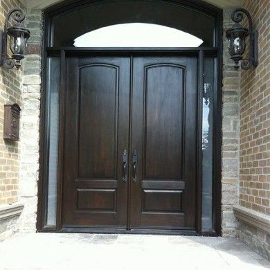 exterior fibergllass solid double front door with 2 side lights and matching arch