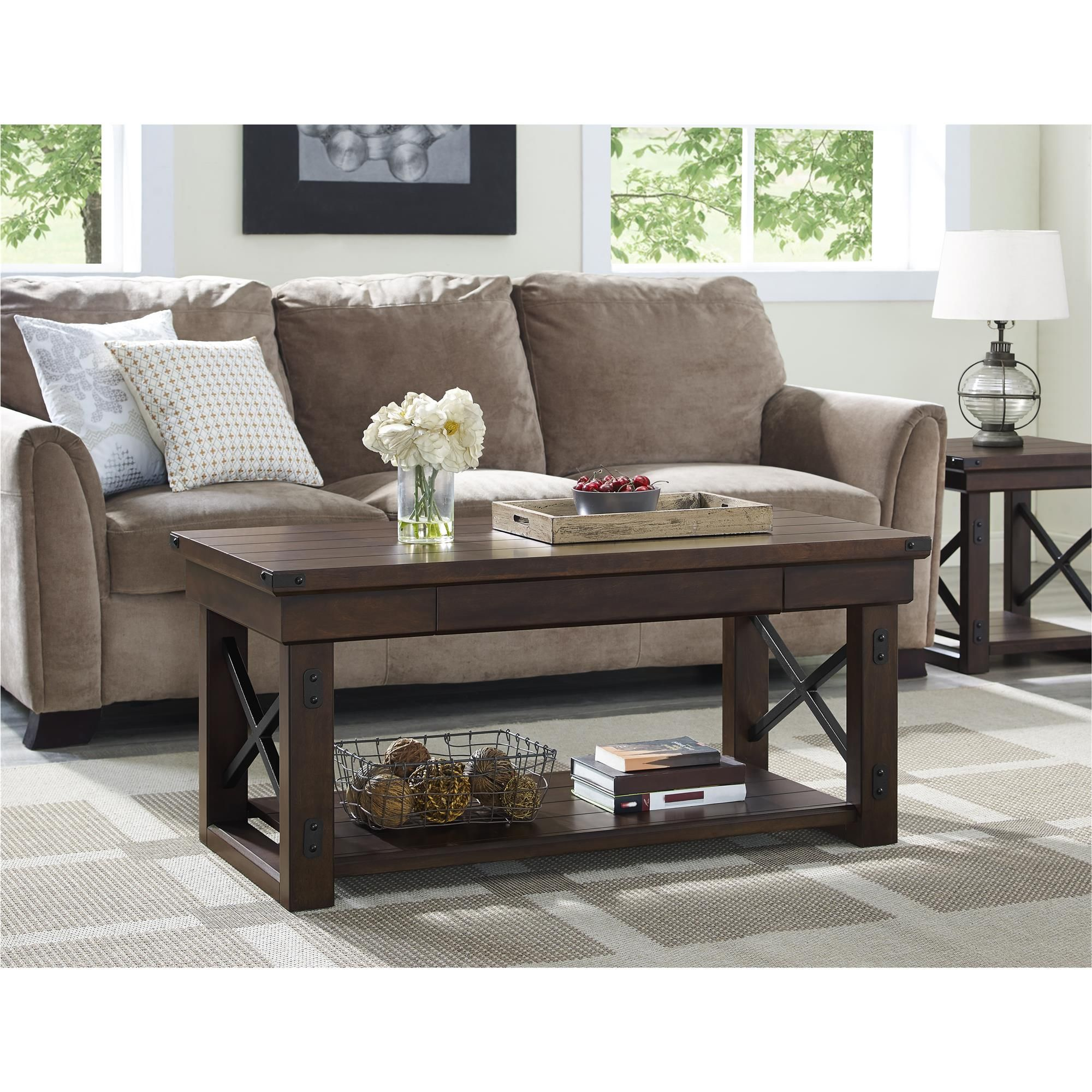 Dorel Home Furnishings Wildwood Mahogany Wood Veneer Coffee Table Brown Coffee Table Coffee Table Wood Altra Furniture [ 2000 x 2000 Pixel ]