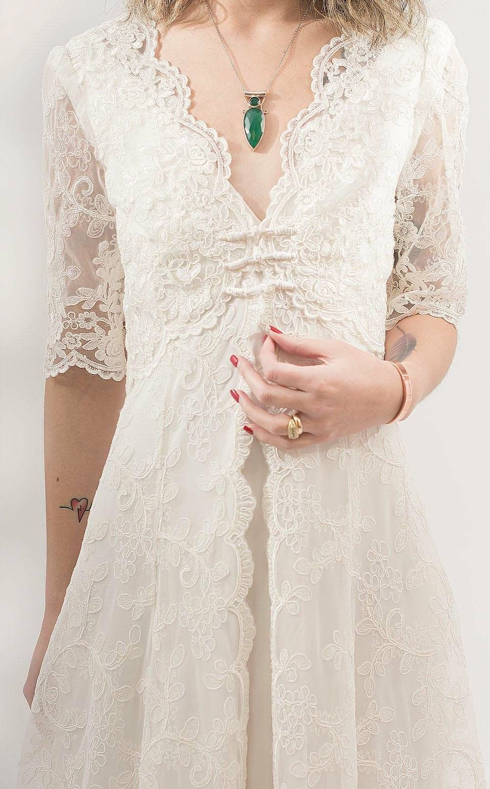 Bohostyle lace wedding dress, casual wedding dress