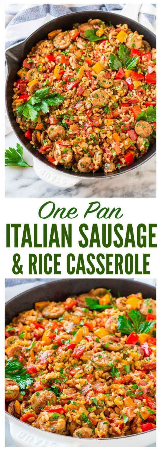Quick and easy Italian Sausage and Rice Casserole. Cooks in ONE PAN! Smoky chicken sausage juicy bell peppers and brown rice in a tomato sauce. One of our favorite healthy weeknight dinners! Recipe at  | @wellplated {gluten free}