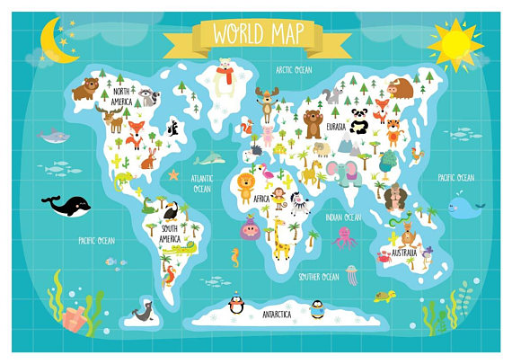 Printable animal world map description this set includes 2 jpg printable animal world map description this set includes 2 jpg file high resolution 300 dpi instant digital download 1 zip folder included you gumiabroncs Choice Image